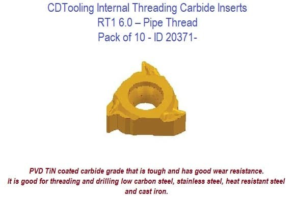 RT1 6.0 Internal Threading Carbide Inserts - Pipe Thread 10 Pack ID 20371-