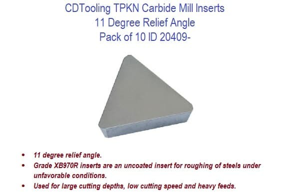 TPKN 11 Degree Relief Angle - Carbide Mill Inserts - 10 Pack ID 20409-