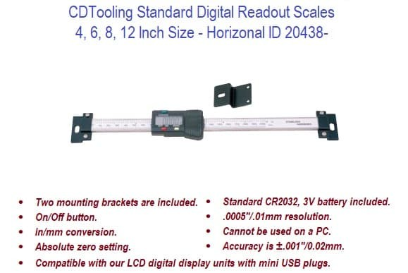 4, 6, 8, 12 Inch Horizontal - Standard Digital Readout Scales ID 20438-