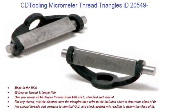 Pair of Micrometer Thread Triangles ID 20549-