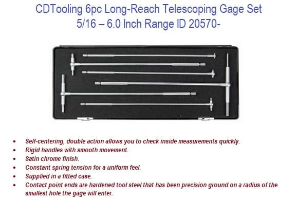 6pc Long-Reach Telescoping Gage Set 5/16 - 6 Inch Length ID 20570-