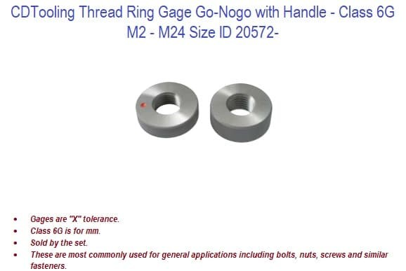 M2 - M24 Thread Ring Gage Go-Nogo with Handle - Class 6G ID 20572-