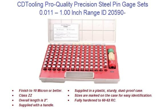 0.011 - 1.00 Inch - Pro-Quality Precision Steel Pin Gage Sets ID 20590-