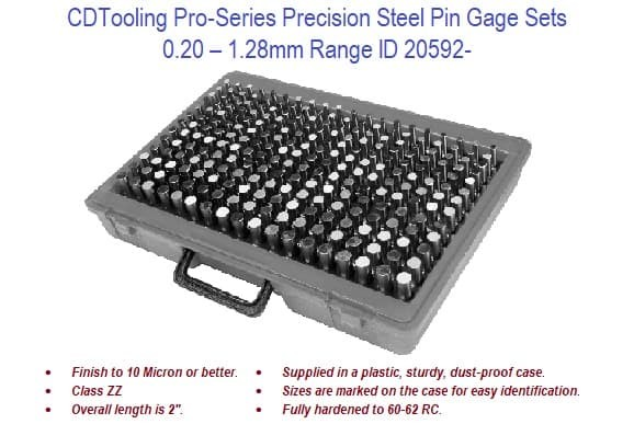 .20mm - 13.99mm- Pro-Series Precision Steel Pin Gage Sets ID 20592-