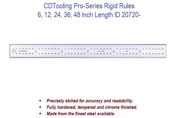 6, 12, 24, 36, 48 Inch Length Pro-Series Rigid Rules ID 20720-