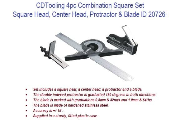 4pc Combination Square Set ID 20726-