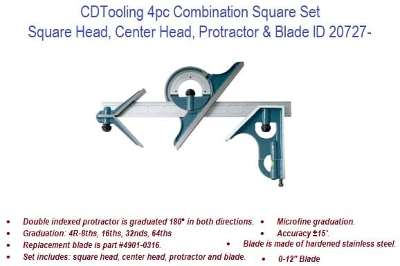 4pc Combination Square Set ID 20727-