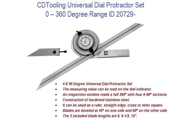 0-360 Degree Range Universal Dial Protractor Set with 3 Blades ID 20729-