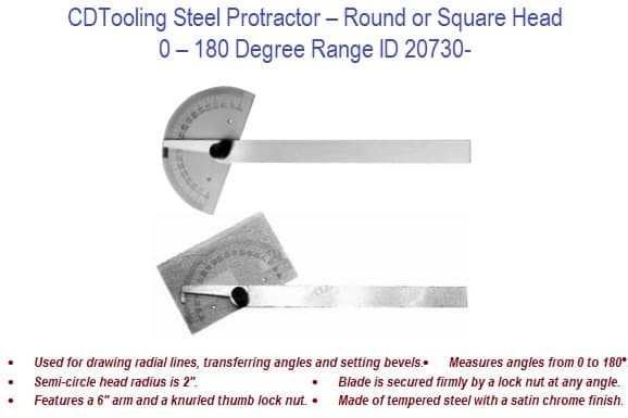 0-180 Degree Range Round and Square Head Steel Protractors ID 20730-