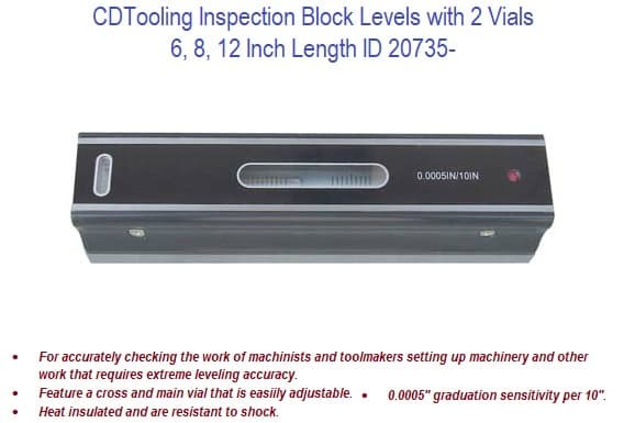 6, 8, 12 Inch Inspection Block Levels with 2 Vials ID 20735-