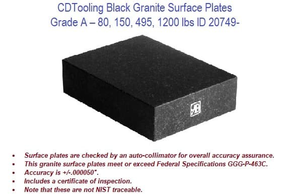 80,  150, 495, 1200 lbs - Grade A - Black Granite Surface Plates ID 20749-