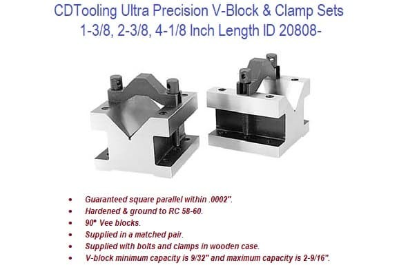 1-3/8, 2-3/8, 4-1/8 Inch Length Ultra Precision V-Block and Clamp Sets ID 20808-