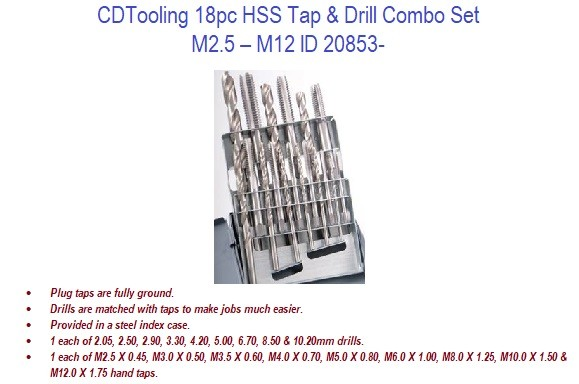 M2.5 - M12 18pc HSS Tap and Drill Combo Set ID 20854-