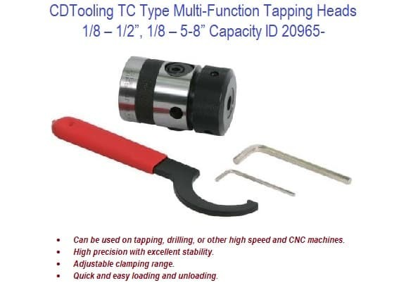 TC Type Multi-Function Tapping Heads 1/8 - 5/8 Inch Capacity ID 20965-