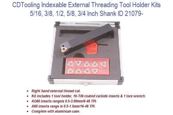 Indexable External Threading Tool Holder Kits - 5/16 - 3/4 Inch Shank ID 21079-