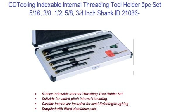Indexable Internal Threading Tool Holder 5pc Set  5/16 - 3/4 Inch Shank ID 21086-
