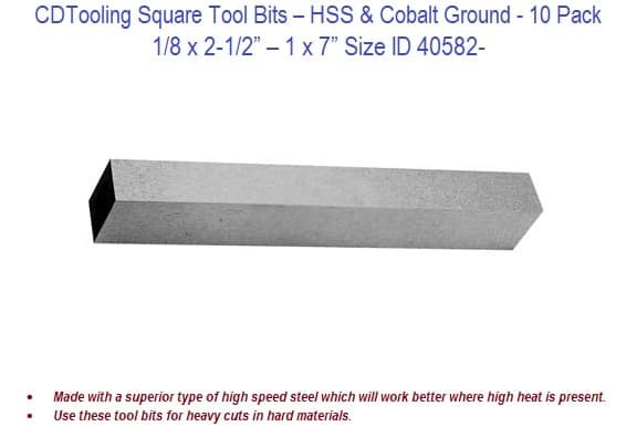 Square Tool Bits - 1/8 x 2-1/2 - 1 x 7 Inch Size - 10 Pack ID 40582-