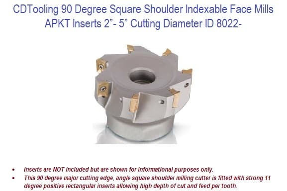 Square Shoulder Indexable Face Mills - APKT 10mm - 90 Degree 2 - 5 Inch Cutting Diameter ID 8022-