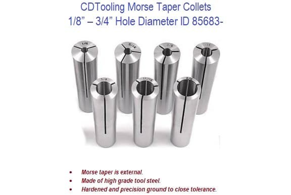Morse Taper Collets - MT3 Shank 1/8 - 3/4 Inch Hole Dia. ID 85683-