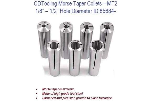Morse Taper Collets - MT2 Shank 1/8 - 1/2 Inch Hole Dia. ID 85684-