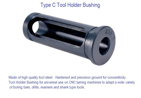 Type C Tool Holder Bushing CNC, Adapt Boring Bars and Round Shank Tools 1/4-2