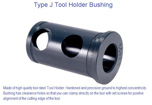 Type J Toolholder Bushing, with long solid body, has clearance holes  1/4-1-3/4