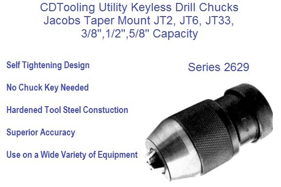 "5//8/"" Drill Chuck With Jacobs Taper 6 Mount Keyless 1//32/"""