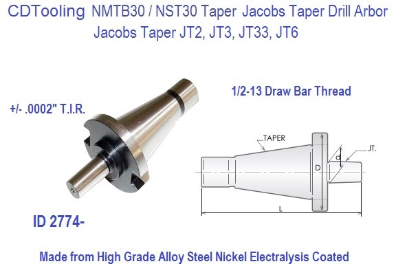"""NMTB40 Jacobs Taper Adapters JT2 Jacobs Taper 1-7//8/"""" Projection"""