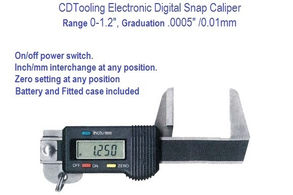 1005-4200-0012 0-1.2 INCH DIGITAL SNAP CALIPER .0005 INCH / .01MM ID 1005-