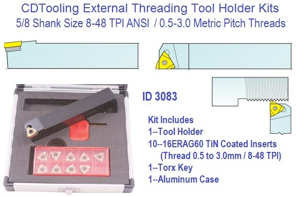 Indexable Carbide Laydown External Threading Kit 8-48 TPI .5 to 3mm Pitch, 5/8 Shank 16ERAG60 Insert ID 3083-2301-1750