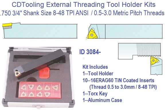 Indexable Carbide Laydown External Threading Kit 8-48 TPI .5 to 3mm Pitch, 3/4 Shank 16ERAG60 Insert ID 3084-2301-2000