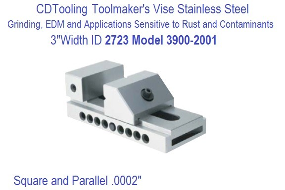 Toolmakers Vise Stainless Steel 3 Inch Jaw Width Model 3900-2001 ID 2723