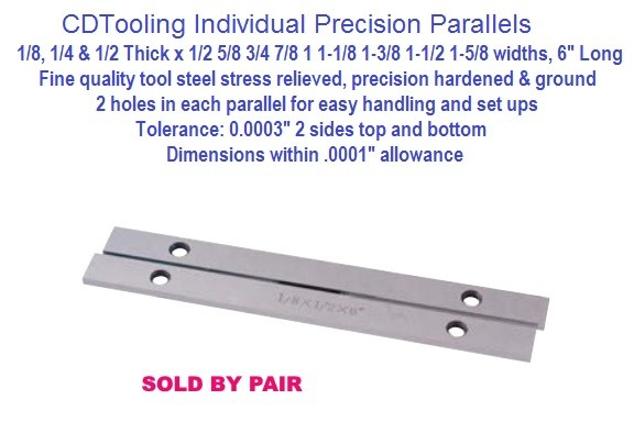 Individual Steel Precision Parallels Pairs 1/8, 1/4, 1/2 Thick Series 3900-