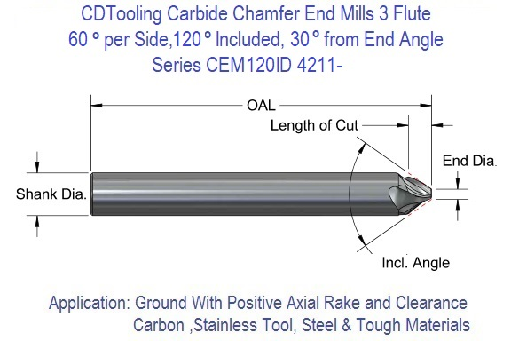 """3//8/""""Dia 90° Degree Included Angle 2-1//2OAL Double End Carbide Engraving Tool USA"""