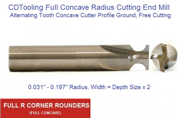 Concave Full Radius Cutting End Mill Sizes From .031 to .197 Inch Solid Carbide ID 1634-