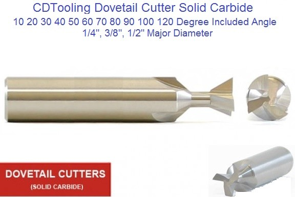 Dovetail Cutter Solid Carbide 1/4, 3/8, 1/2 Diameter 10 20 30 40 50 60 70 80 90 100 120 Degree Angle ID 1822-