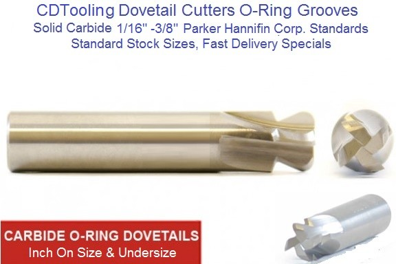 Dovetail O-Ring Cutters On Size And Undersize 1/16 (.70) - 3/8 Standard and Special Sizes Solid Carbide ID 1643-