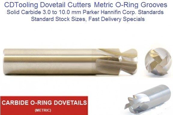 Dovetail O-Ring Cutter Metric 3.0 -10.0MM Standard and Special Sizes Solid Carbide ID 1642-