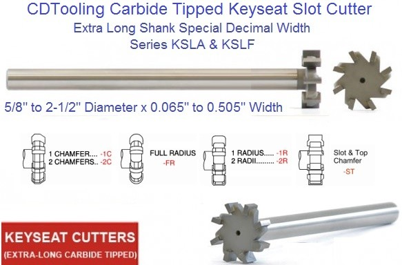 Carbide Tipped Keyseat Slot Cutters Extra Long, Decimal Width ID 1654-
