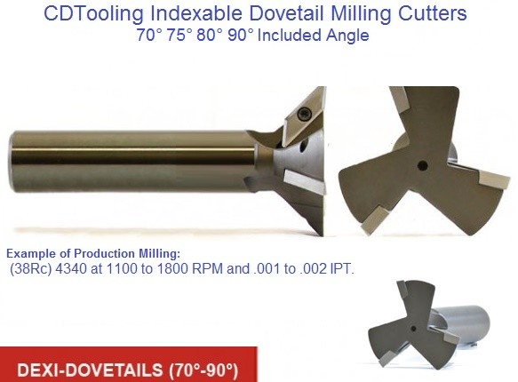 Indexable Carbide Insert Dovetail Milling Cutters 70, 75, 80, 90 Degree Included Angle ID 1656-