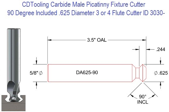 DA625-90 90 Degree Included Solid Carbide Picatinny Fixture Cutter .625 x 3.5 90 Degree ID 3030-