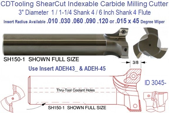 3 Inch Diameter 1 / 1-1/4 Shank x 5  Inch Long Shear Cut SH300  5 ShearCut Indexable Mill ID 3045-