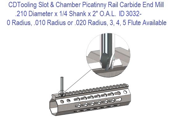 SCEM21045 .210 x .250 x 2.0 Inch 3, 4 or 5 Flute Picatinny Rail Slot Carbide Slot and Chamfer Mill ID 3032-