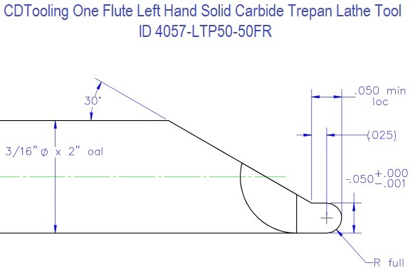 Single Flute Left Hand Solid Carbide Trepan Lathe Tool 4057-LTP50-50FR