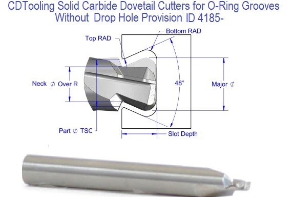 Solid Carbide Dovetail Cutters 1/16 3/32 1/8 3/16 1/4 3/8 , O-Ring Grooves .070 .103 .139 .210 .275 .375 No Drop Hole Provision ID 4185-