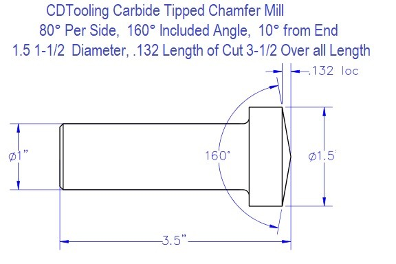 80 Per Side, 160 Included 10 From End Degree 1.5 1-1/2 Inch Diameter Carbide Tipped Chamfer Mill ID 6619-