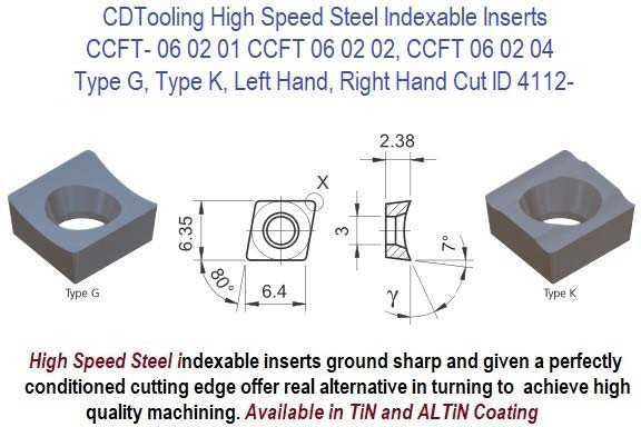 CCFT- 060201, 060202, 060204, FL, FR, Type G, K, High Speed Steel Inserts 10 Pack ID 4112-