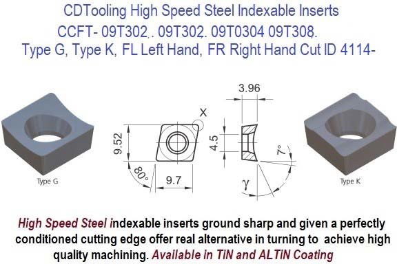 CCFT- 09T302 , 09T302, 09T0304 09T308, FL, FR, Type G, K, High Speed Steel Inserts 10 Pack ID 4114-