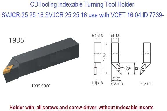SVJCR, 252616 SVJCL 252516 Indexable Turning Tool Holder Use with  VCFT 1604 ID 7739-