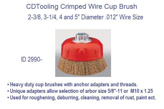 Crimped Wire Wheel Brush Brass Coated 2.37, 3.25, 4, 5 Inch Diameter ID 2990-